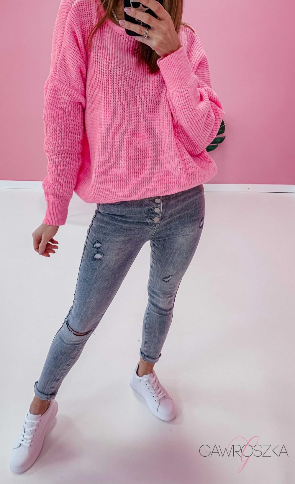 Spodnie jeans z guzikami - GREY 1