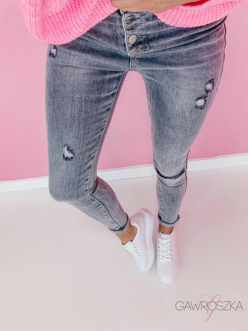 Spodnie jeans z guzikami - GREY 3