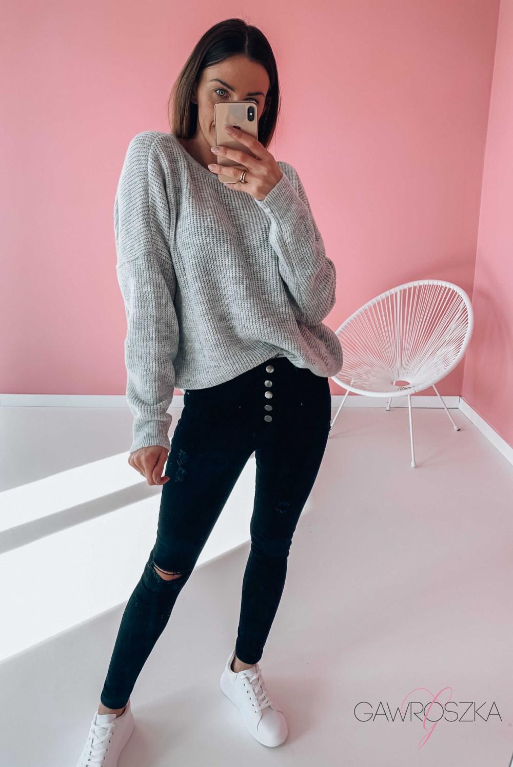 Sweter OVER V neck - szary 1