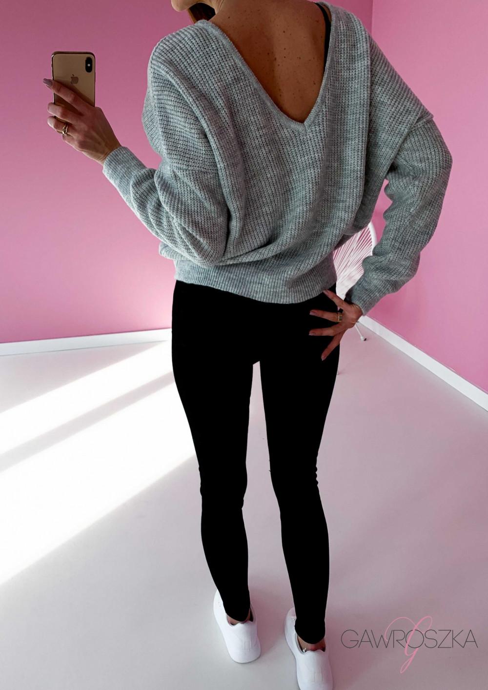 Sweter OVER V neck - szary 2