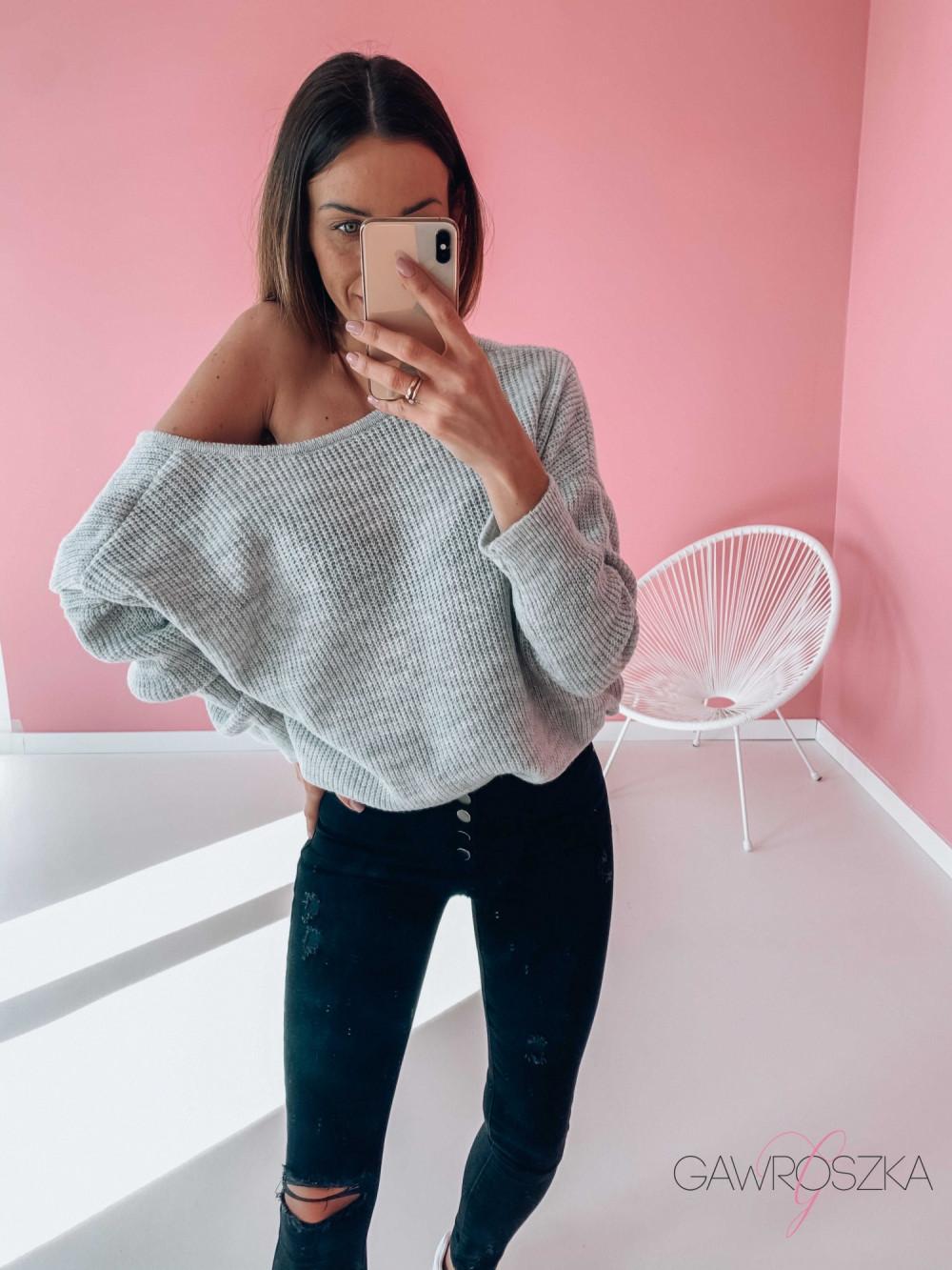 Sweter OVER V neck - szary 3