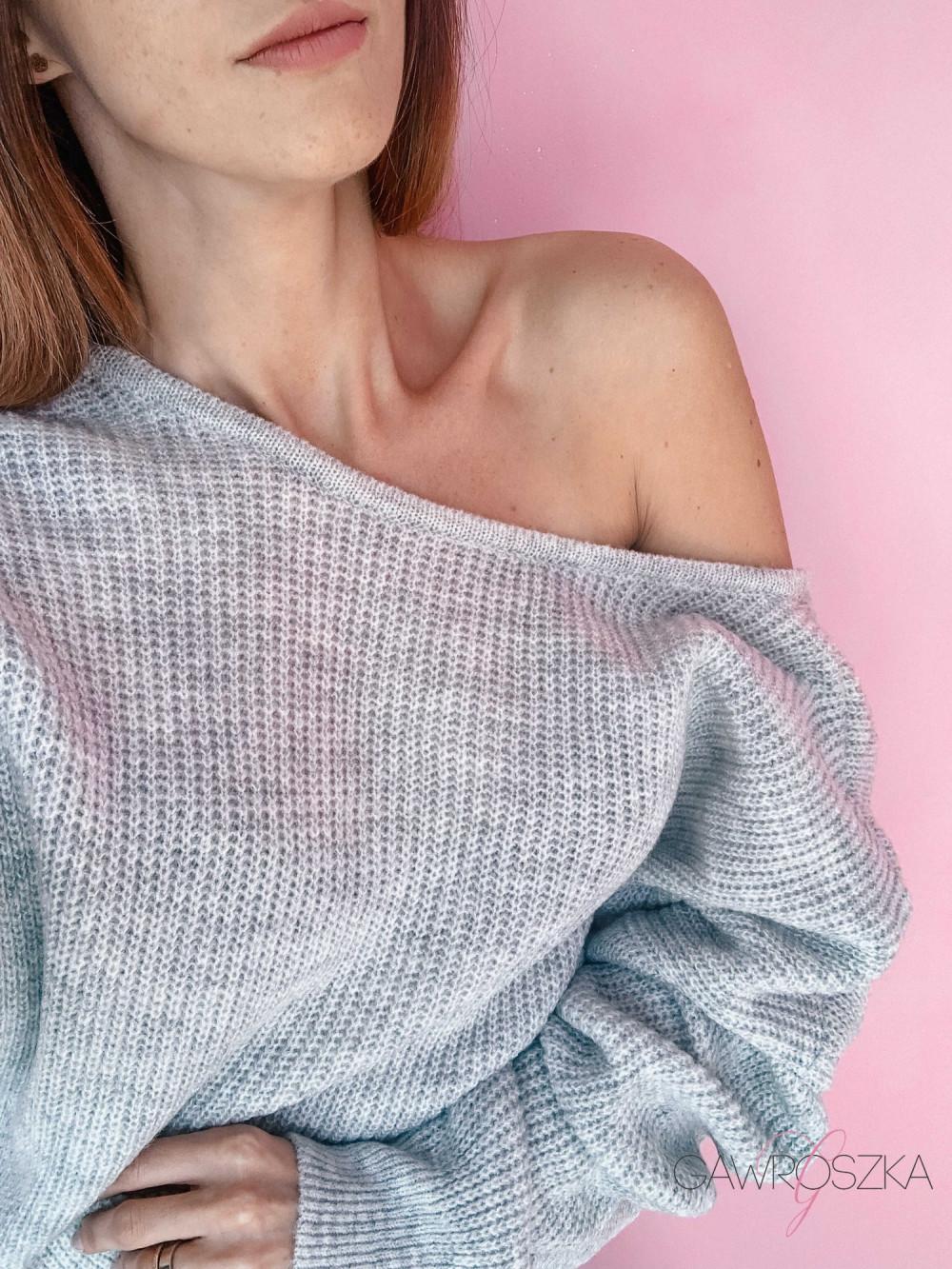 Sweter OVER V neck - szary 4