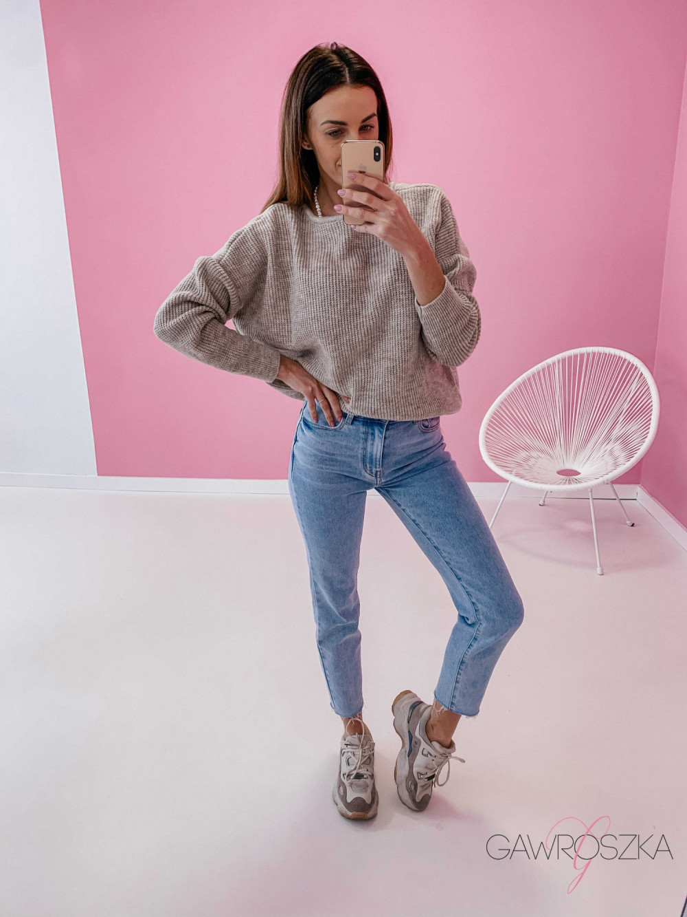 Sweter OVER V neck - beżowy 2