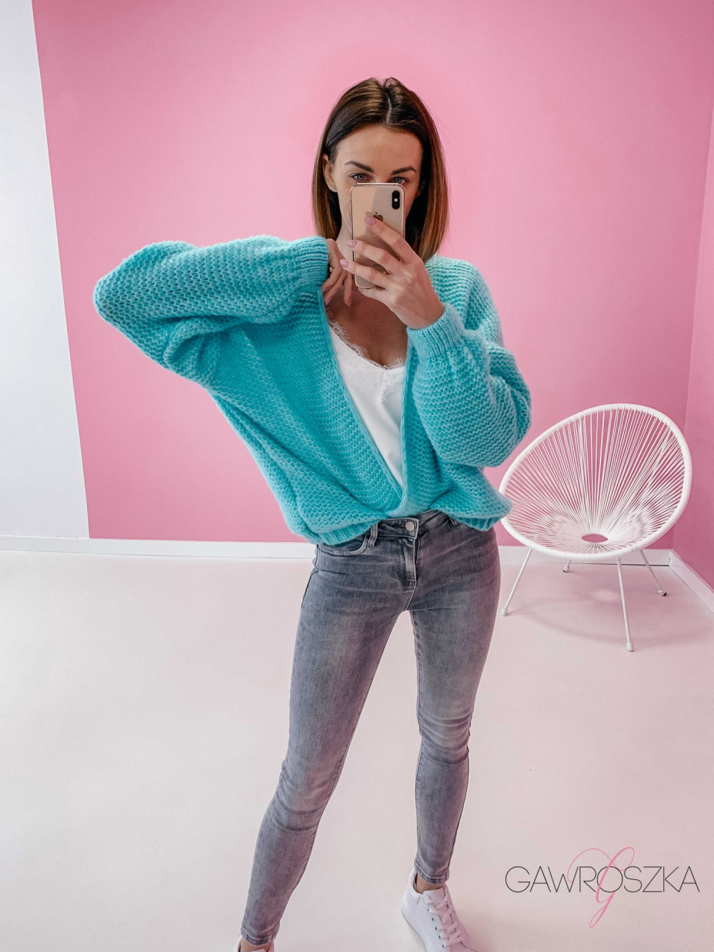 Sweter kardigan krótki - mięta 1