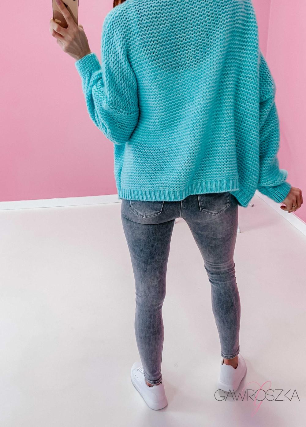 Sweter kardigan krótki - mięta 2
