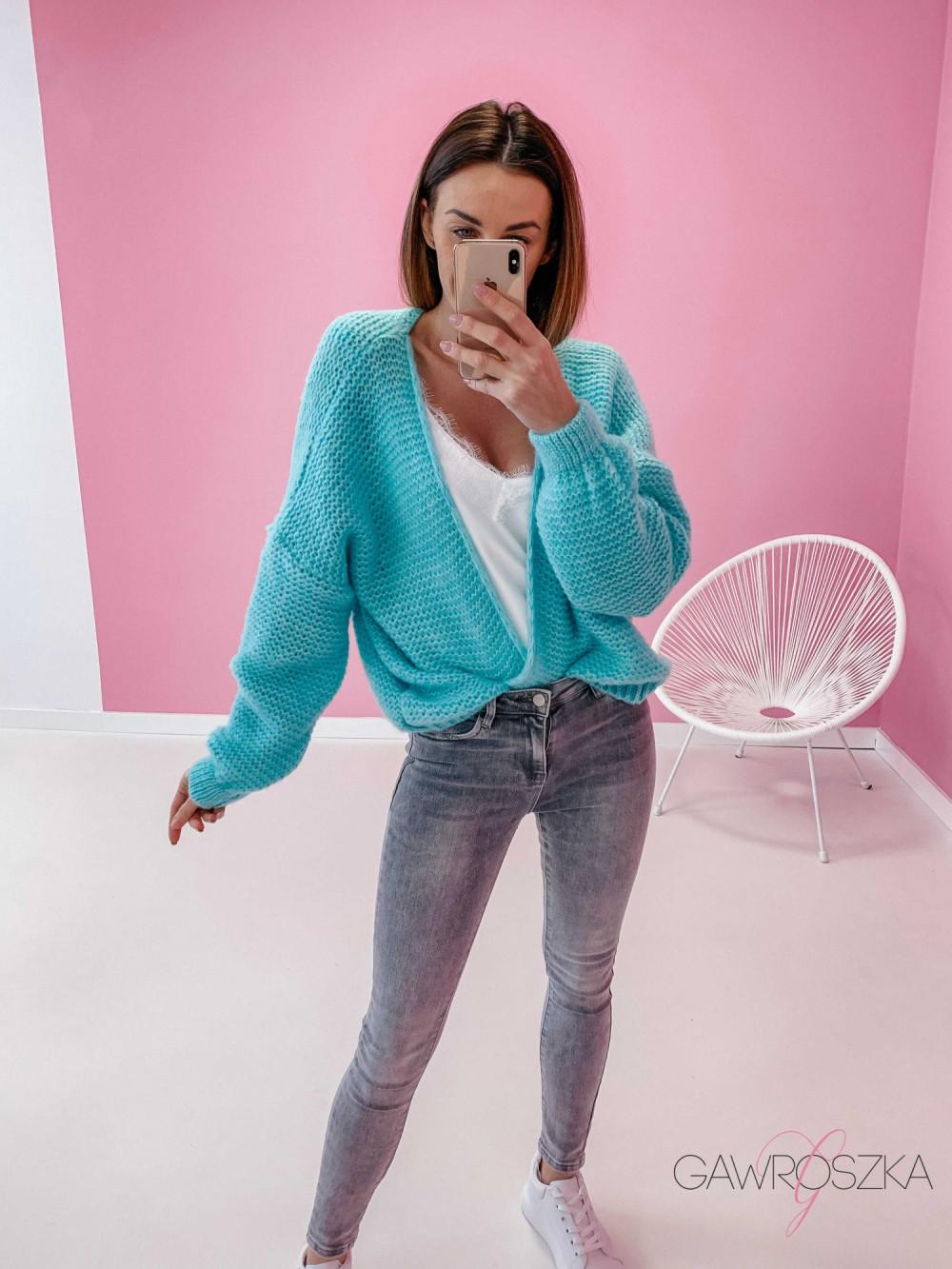 Sweter kardigan krótki - mięta 4