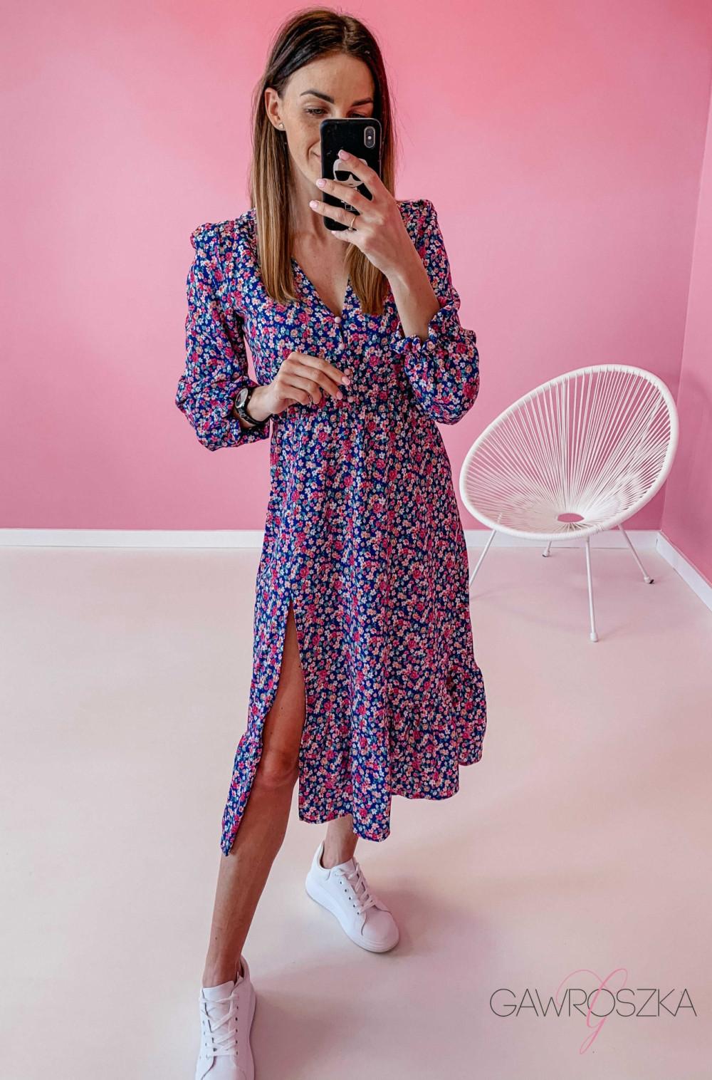 Sukienka Megi Midi Premium - niebieska w kwiaty 4