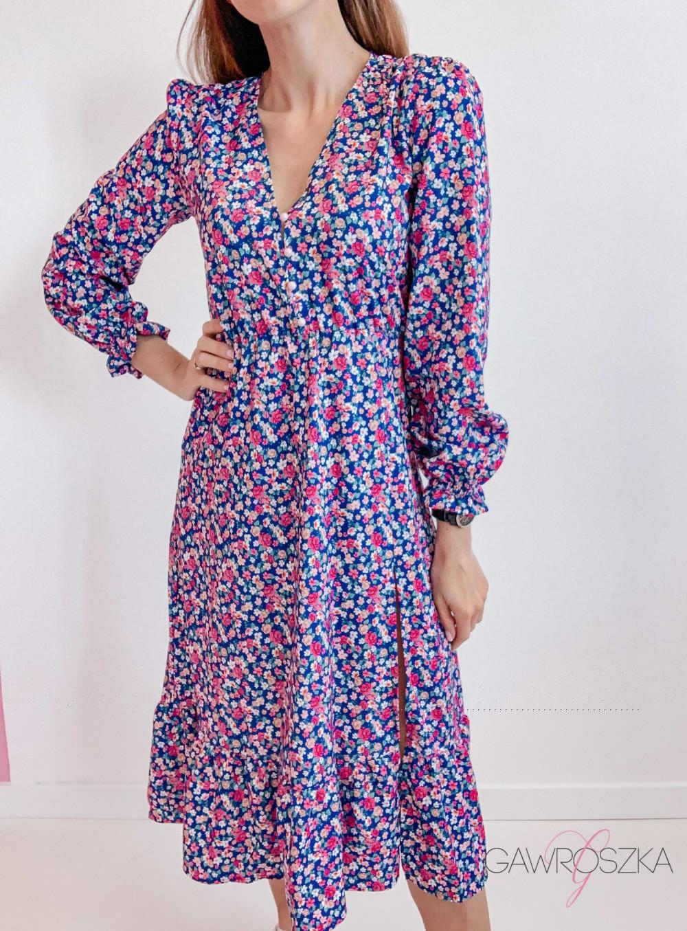 Sukienka Megi Midi Premium - niebieska w kwiaty 8