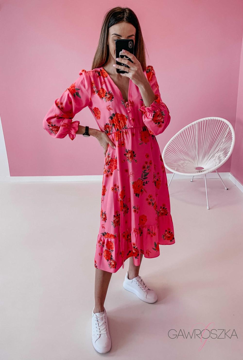 Sukienka Megi Midi Premium - różowa w róże 1