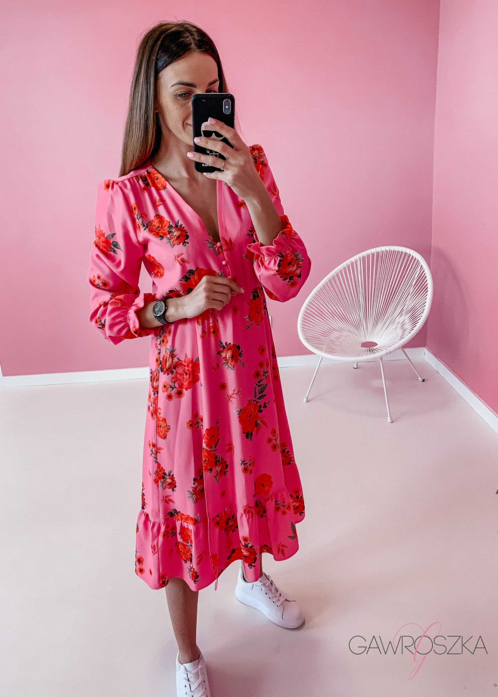 Sukienka Megi Midi Premium - różowa w róże 2