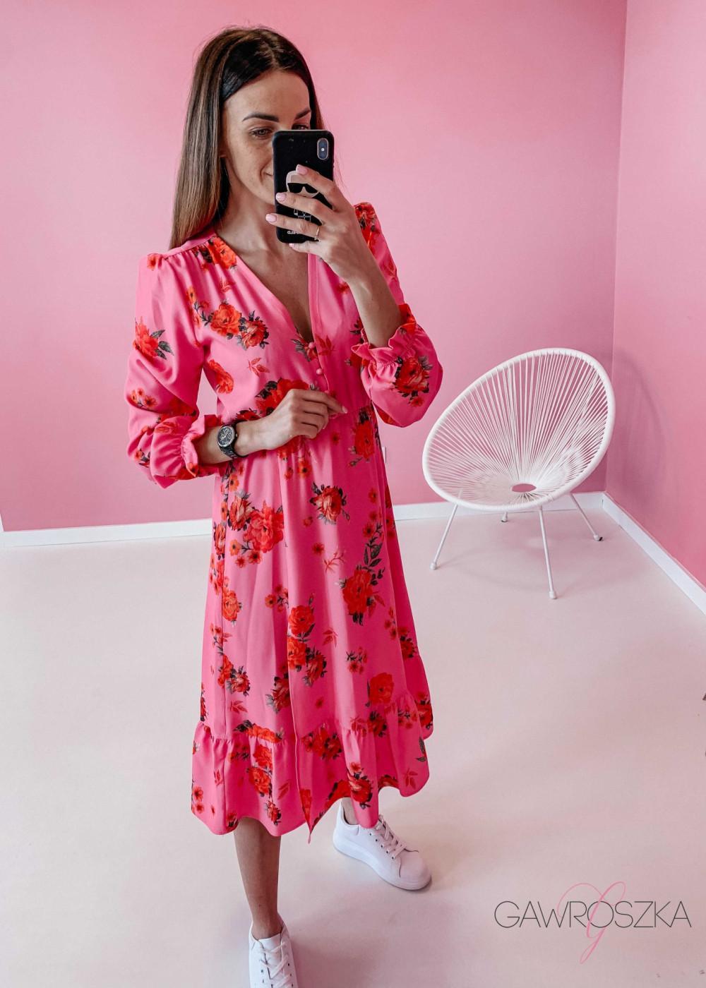 Sukienka Megi Midi Premium - różowa w róże 3