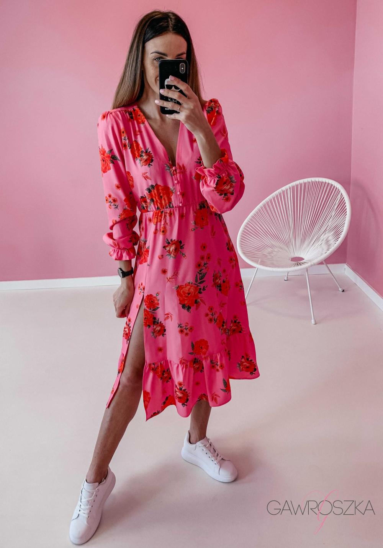 Sukienka Megi Midi Premium - różowa w róże 4