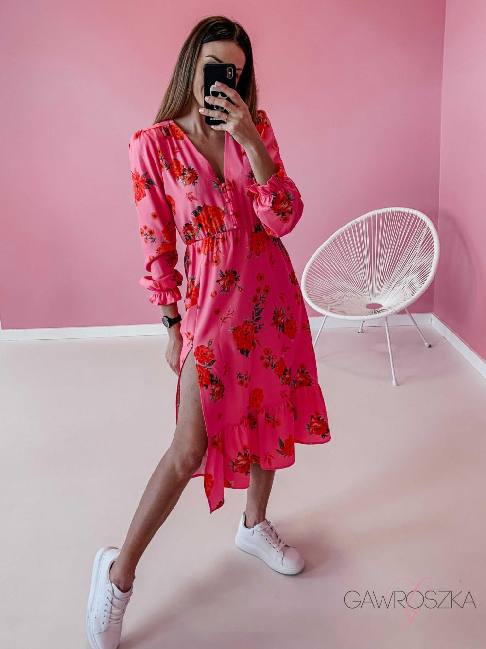 Sukienka Megi Midi Premium - różowa w róże 5