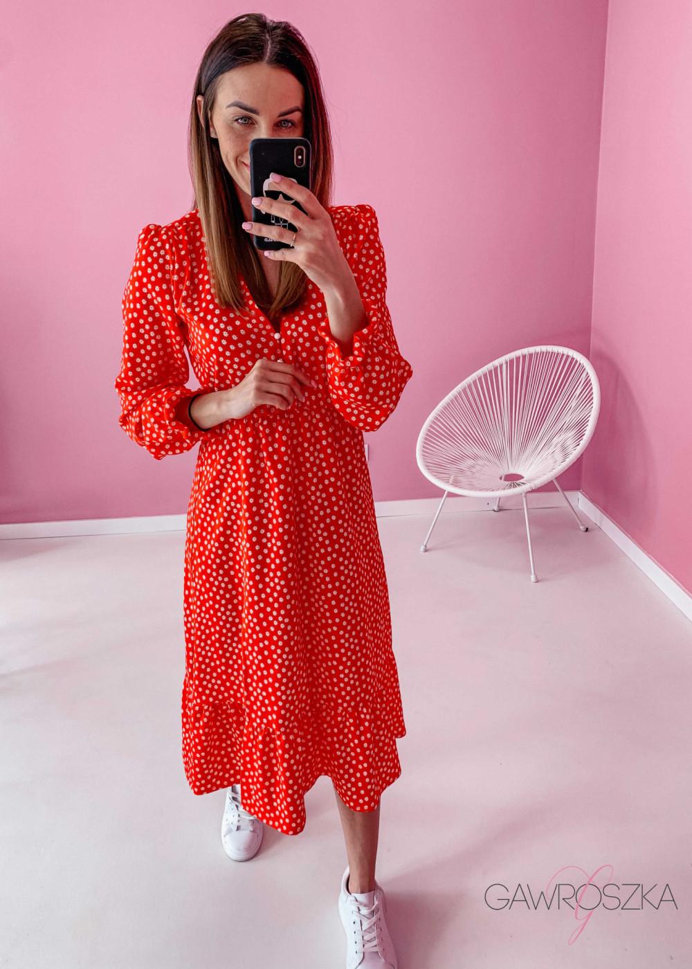 Sukienka Megi Midi Premium - czerwona w białe kwiatuszki 4