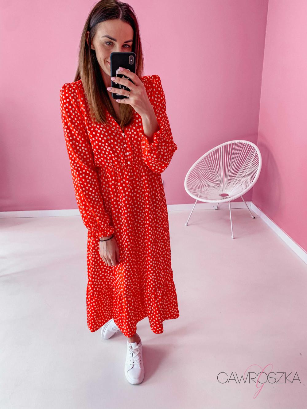 Sukienka Megi Midi Premium - czerwona w białe kwiatuszki 5