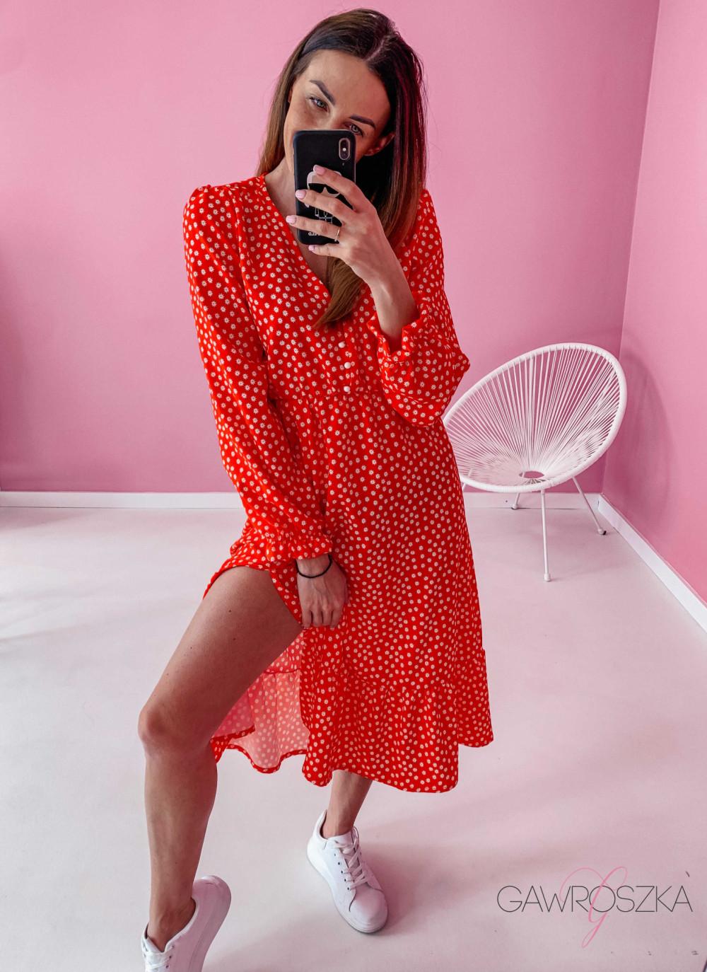 Sukienka Megi Midi Premium - czerwona w białe kwiatuszki 7