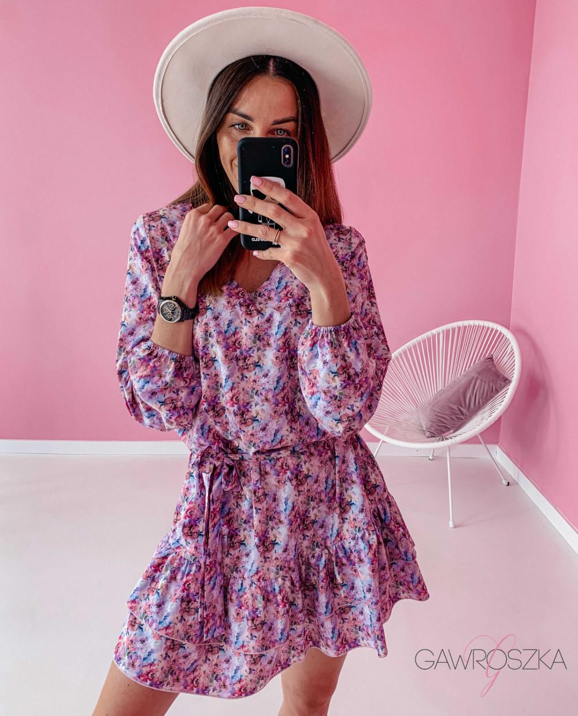Sukienka z wiązaniem - pastelowe kwiaty 1