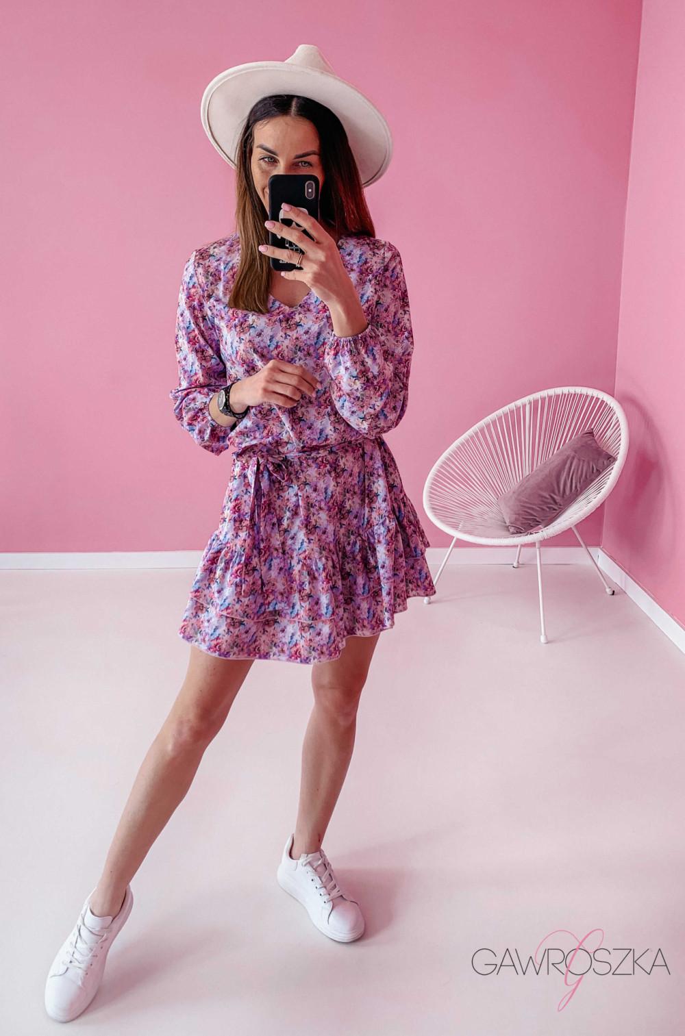 Sukienka z wiązaniem - pastelowe kwiaty 2