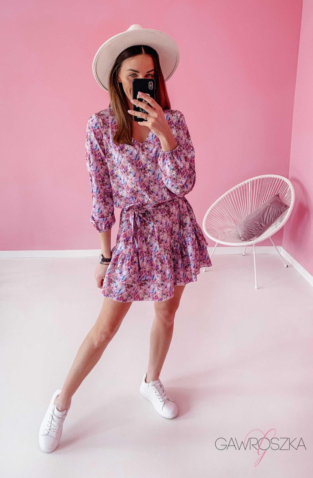 Sukienka z wiązaniem - pastelowe kwiaty 3