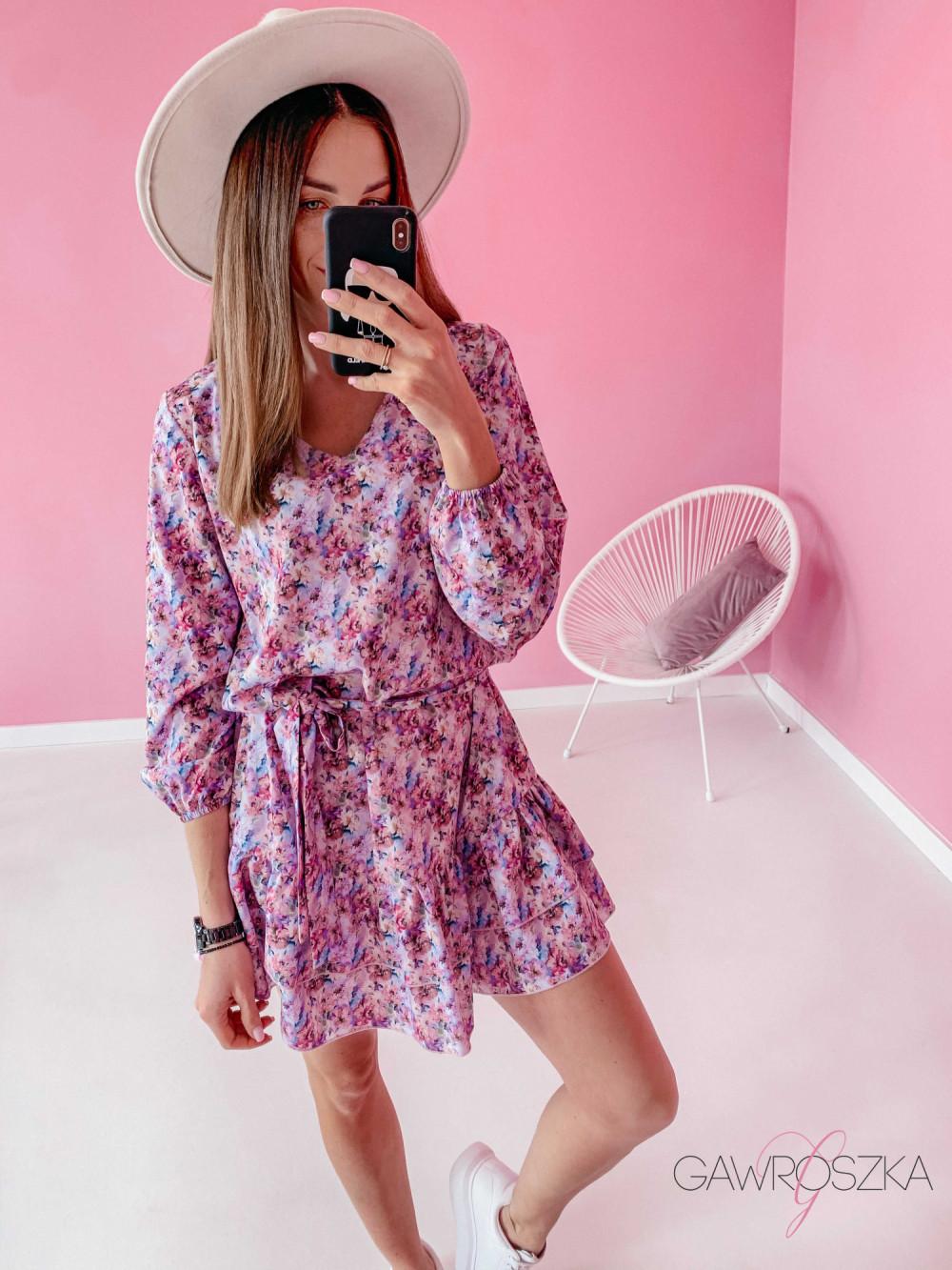 Sukienka z wiązaniem - pastelowe kwiaty 4