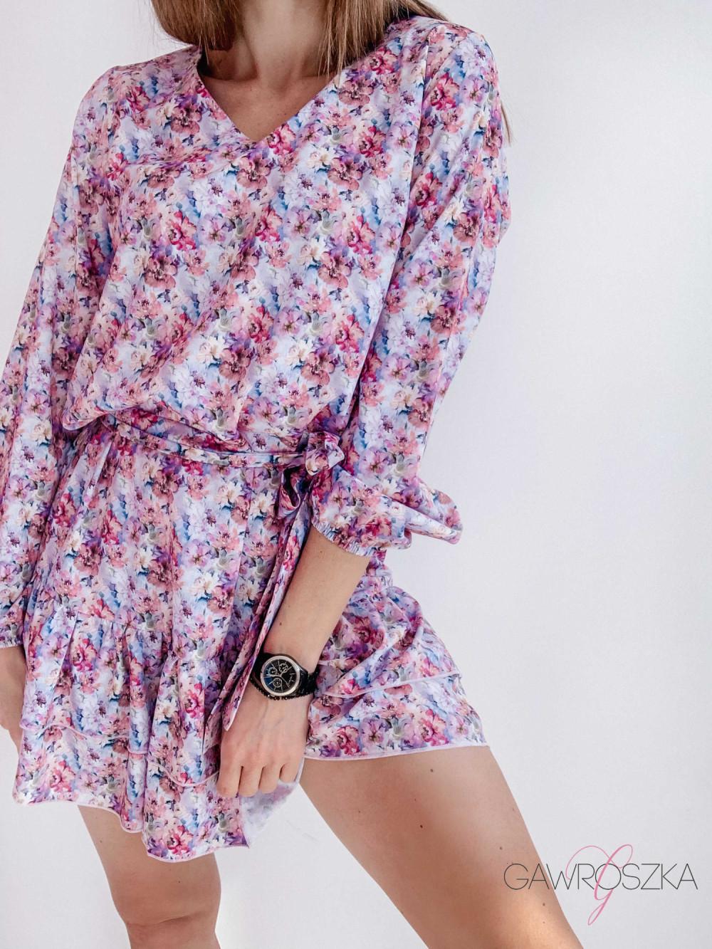 Sukienka z wiązaniem - pastelowe kwiaty 5