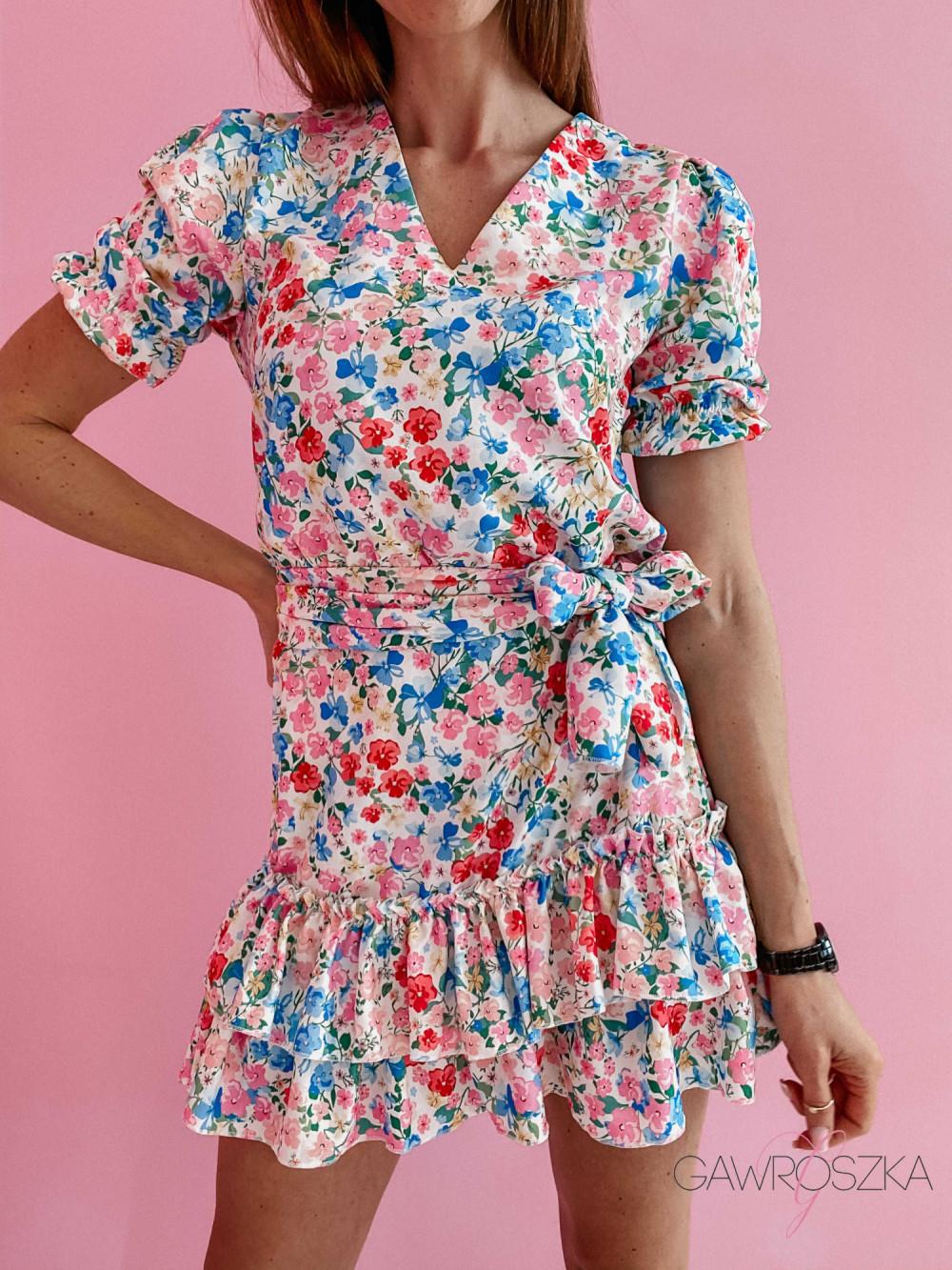 Sukienka Megi z krótkim rękawem - biała w kolorowe kwiatuszki 3