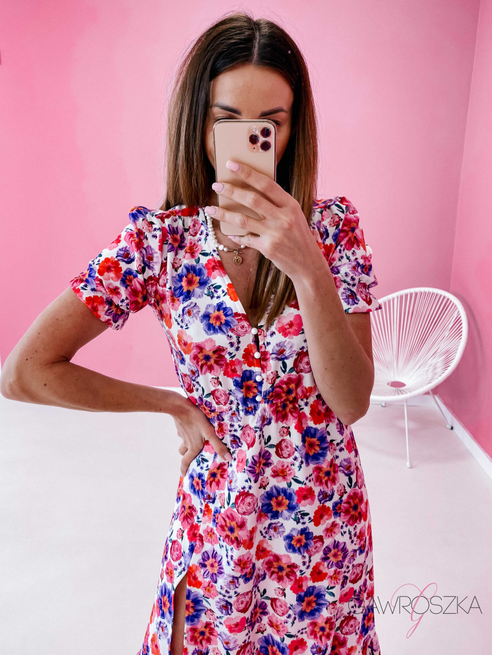 Sukienka Megi Midi Premium - wiosenne kwiaty 1