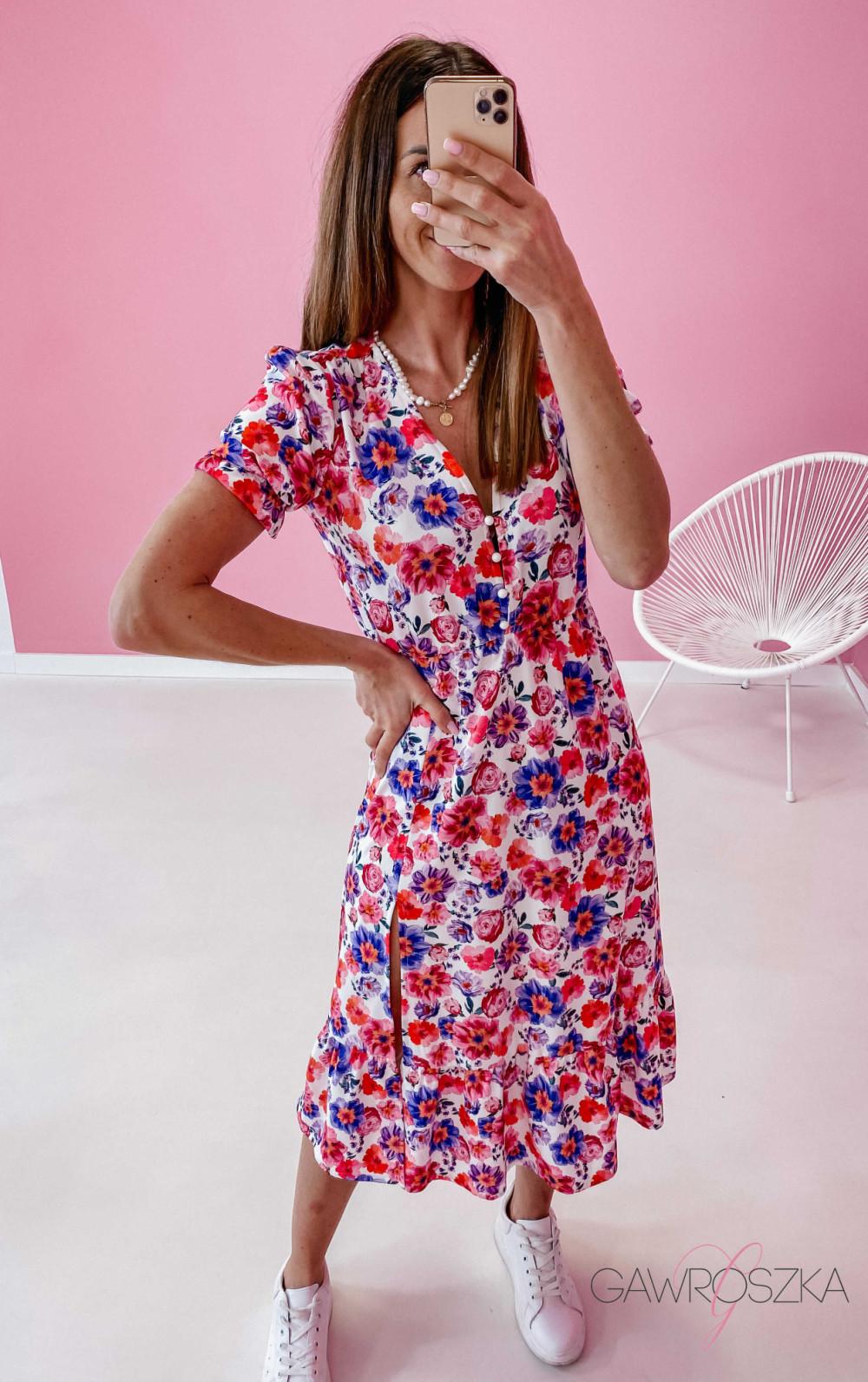 Sukienka Megi Midi Premium - wiosenne kwiaty 2