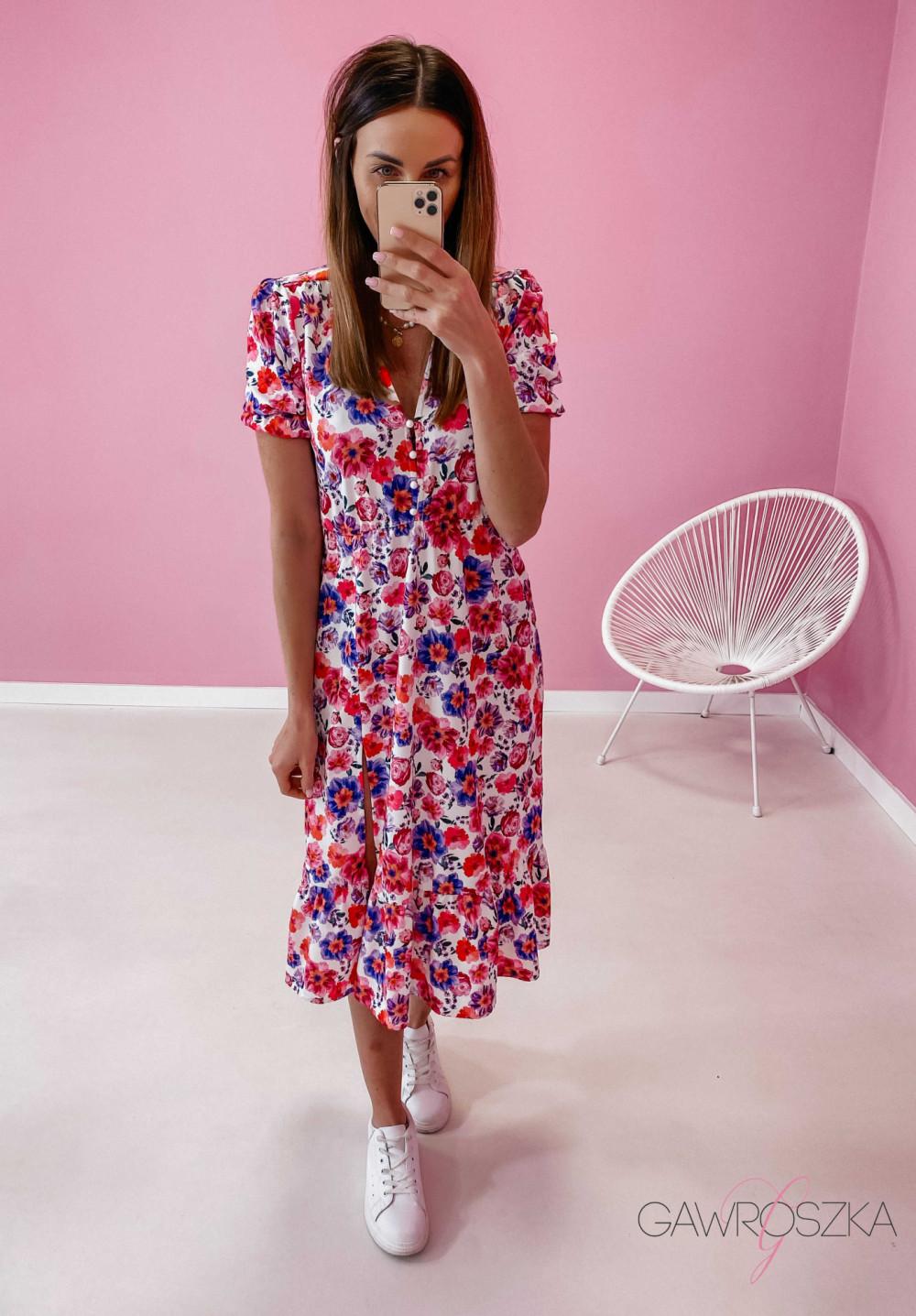 Sukienka Megi Midi Premium - wiosenne kwiaty 3