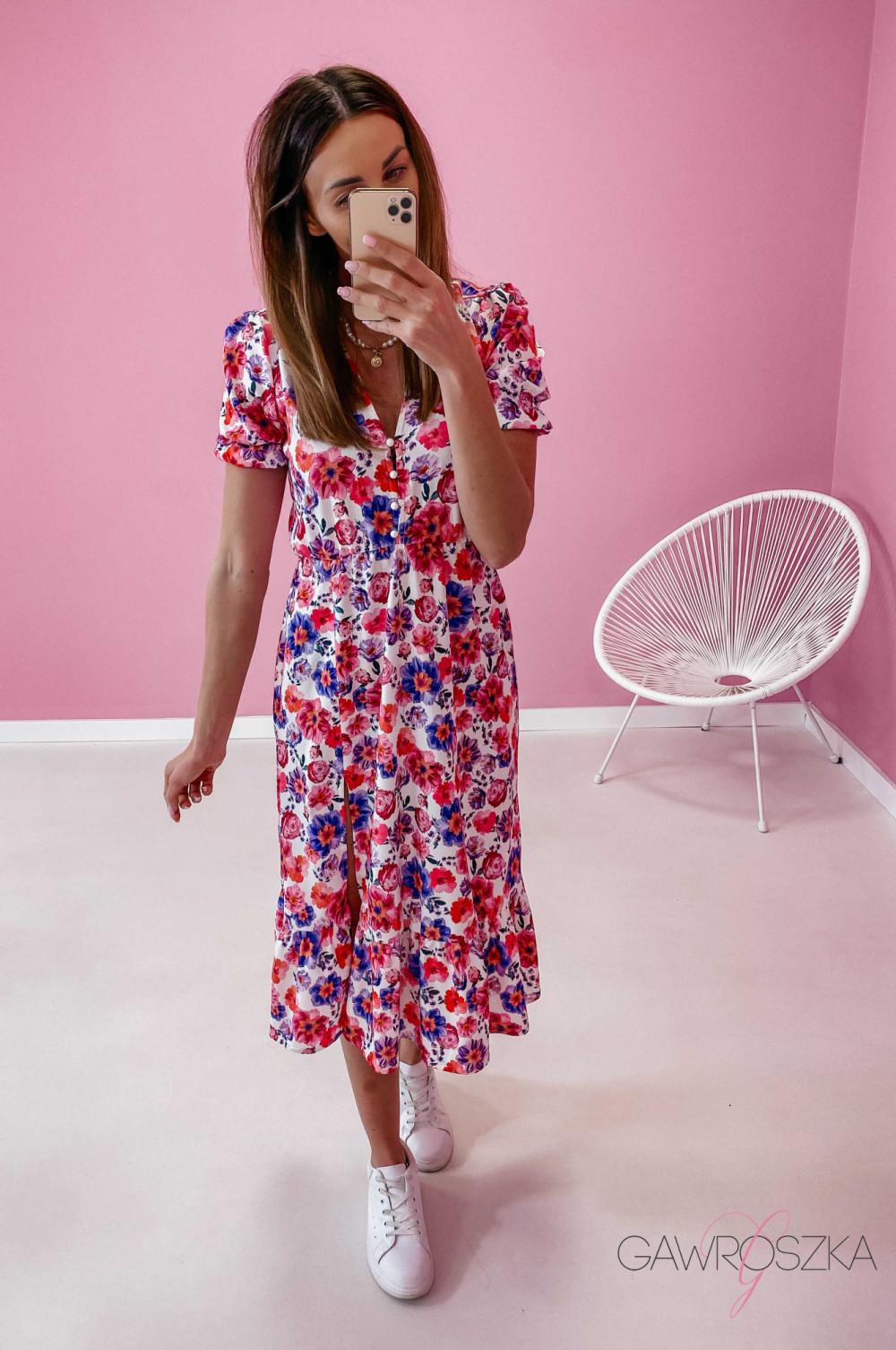 Sukienka Megi Midi Premium - wiosenne kwiaty 4