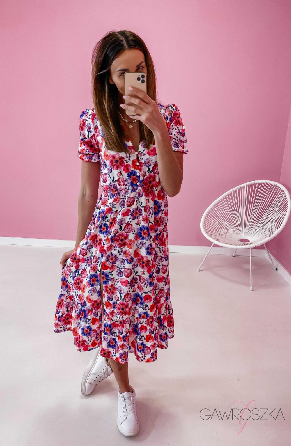 Sukienka Megi Midi Premium - wiosenne kwiaty 5