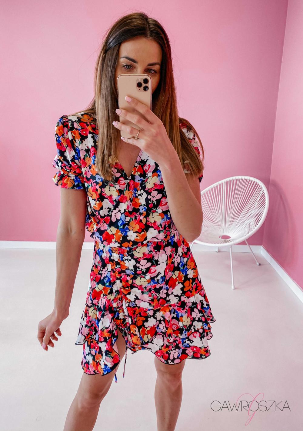 Sukienka Megi z regulowaną długością - bratki 1