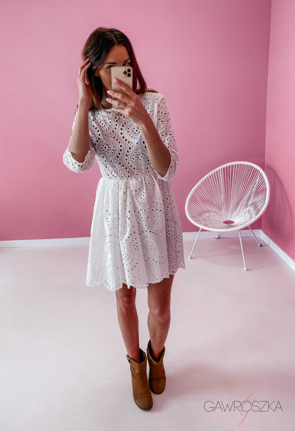 Sukienka ażurowa - biała 1