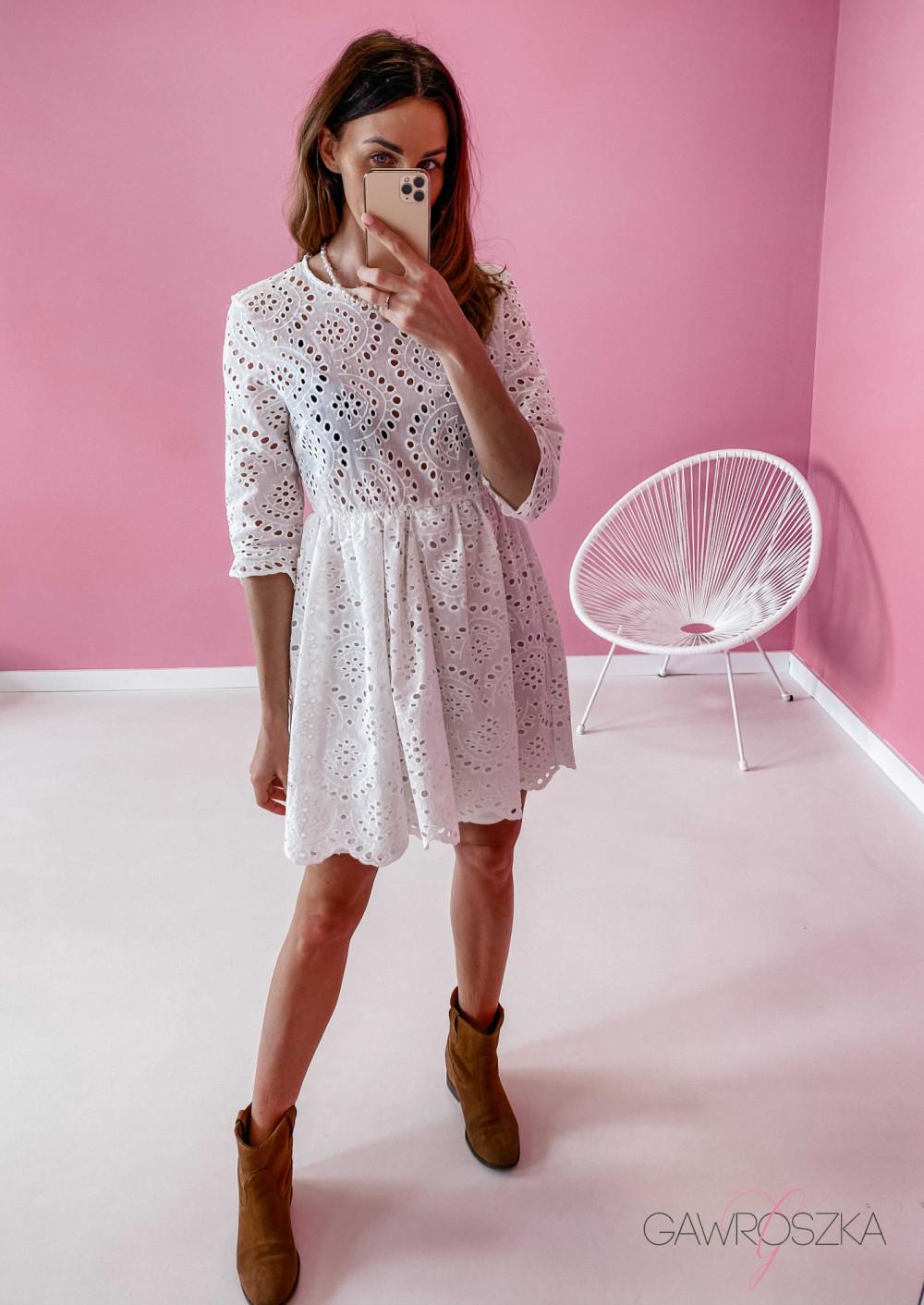 Sukienka ażurowa - biała 2
