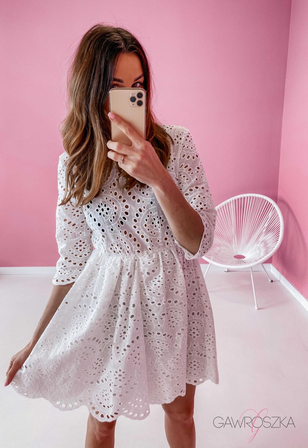 Sukienka ażurowa - biała 3
