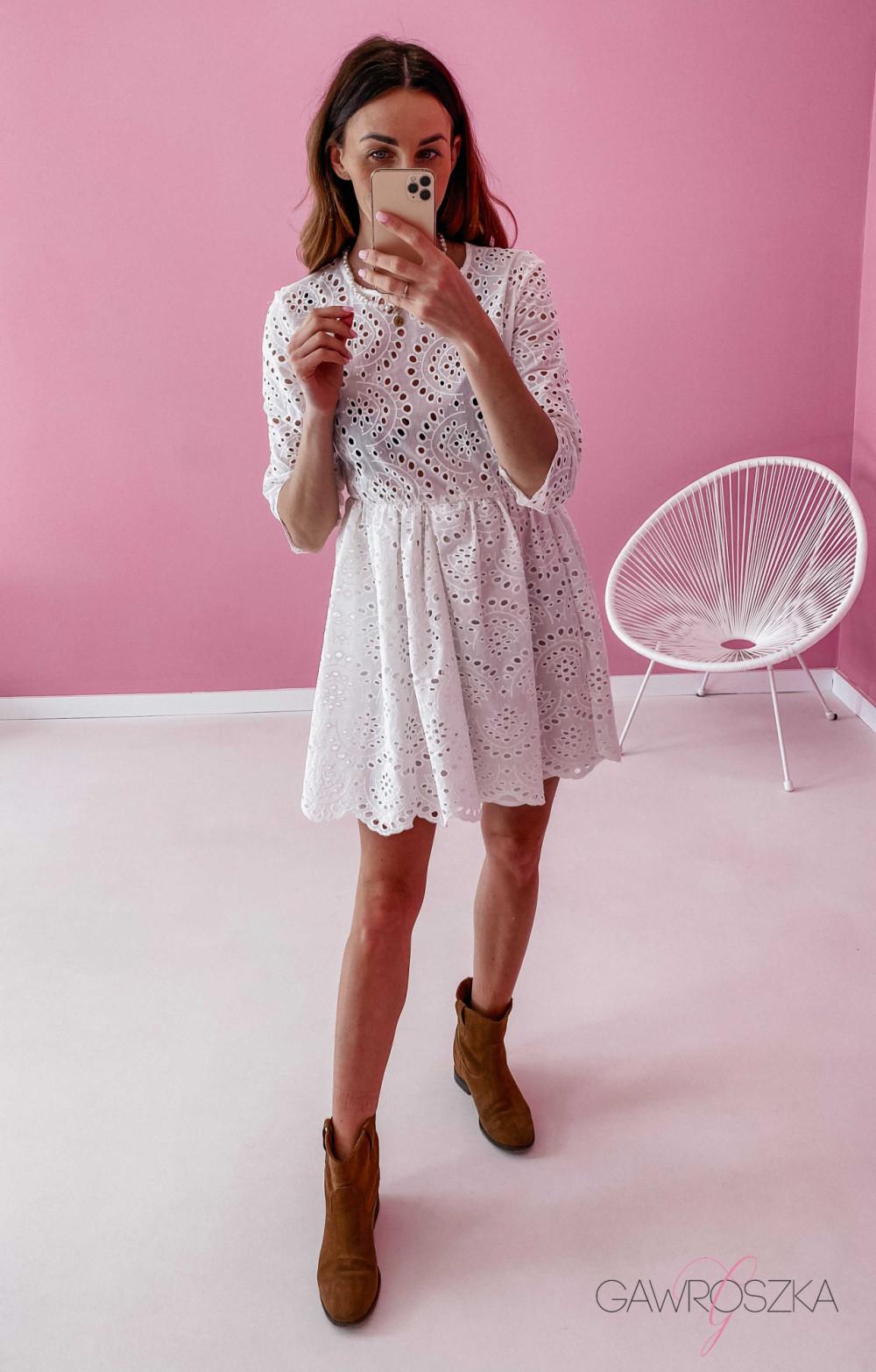 Sukienka ażurowa - biała 4