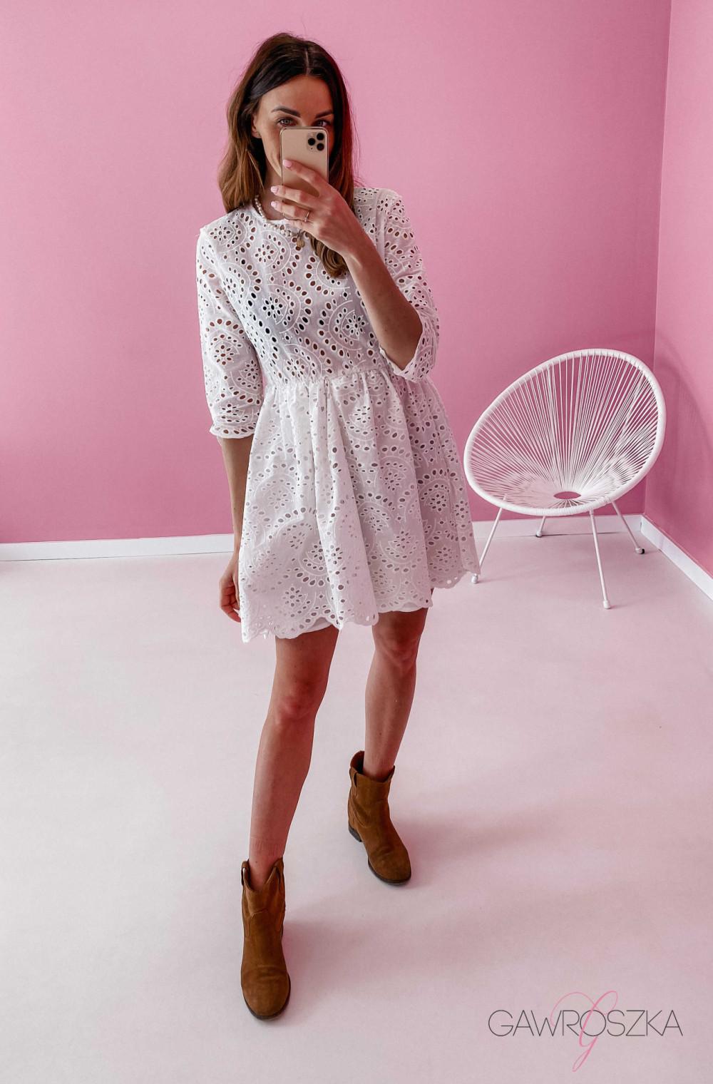 Sukienka ażurowa - biała 5
