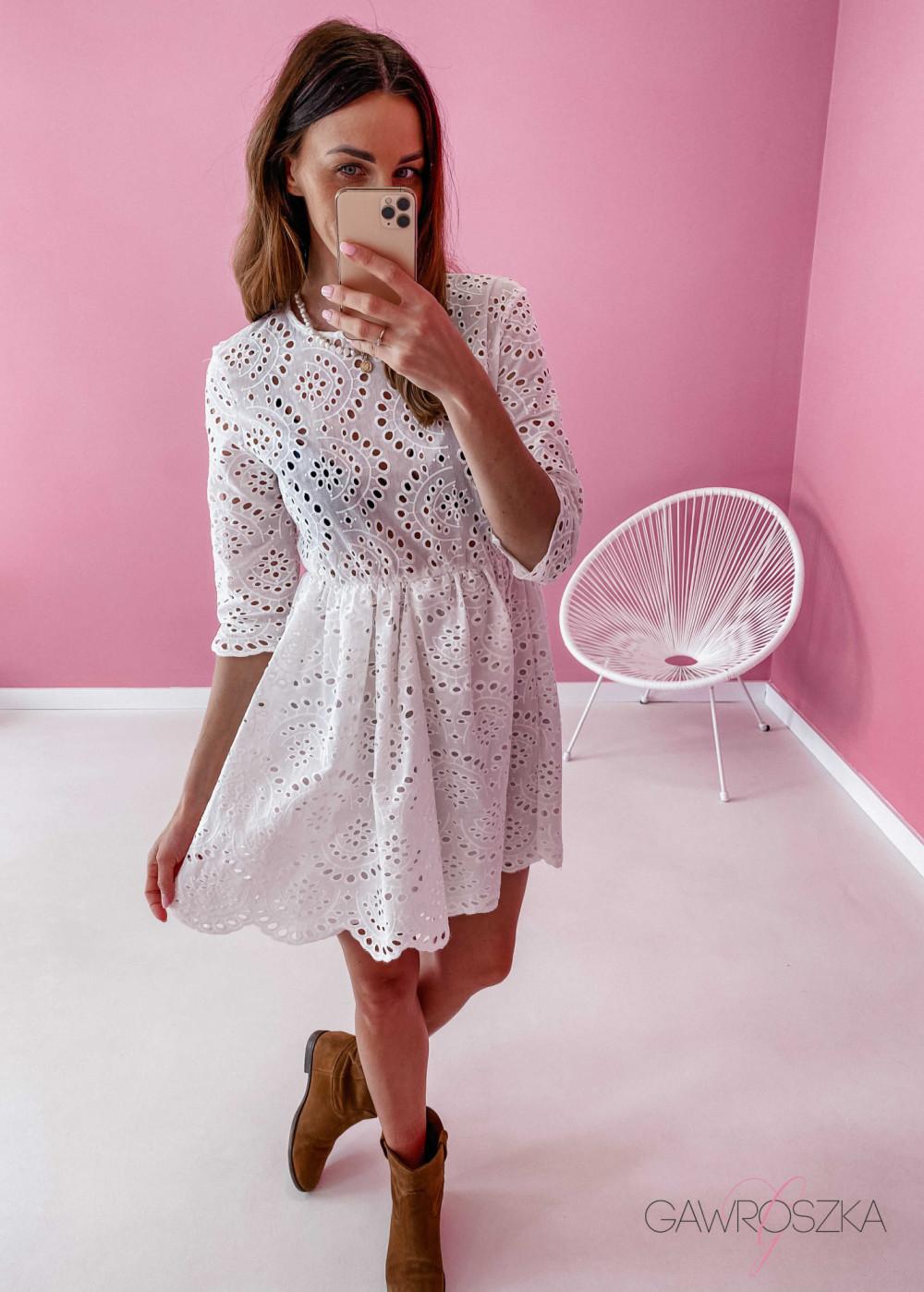 Sukienka ażurowa - biała 6