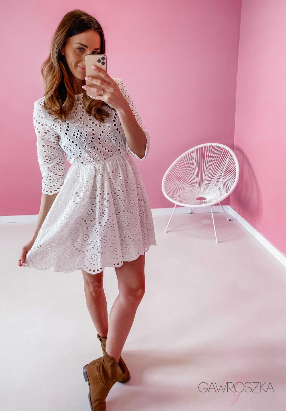 Sukienka ażurowa - biała 8