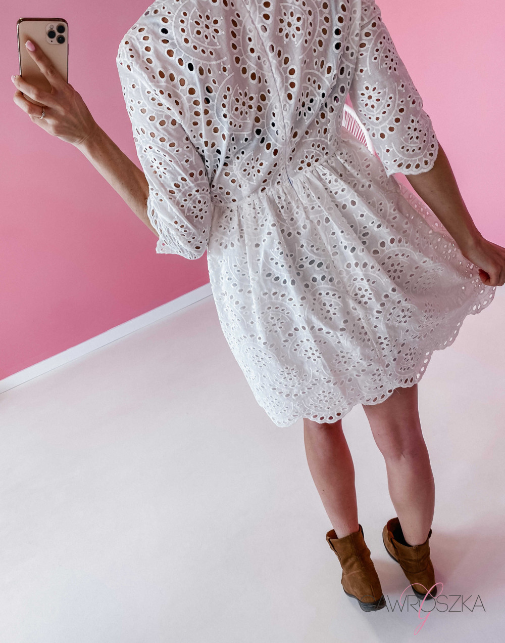 Sukienka ażurowa - biała 9