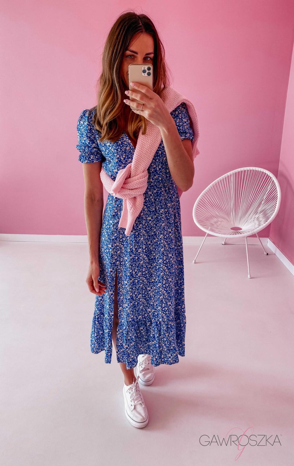 Sukienka Megi Midi Premium - niebieska w białe małe kwiatuszki 1
