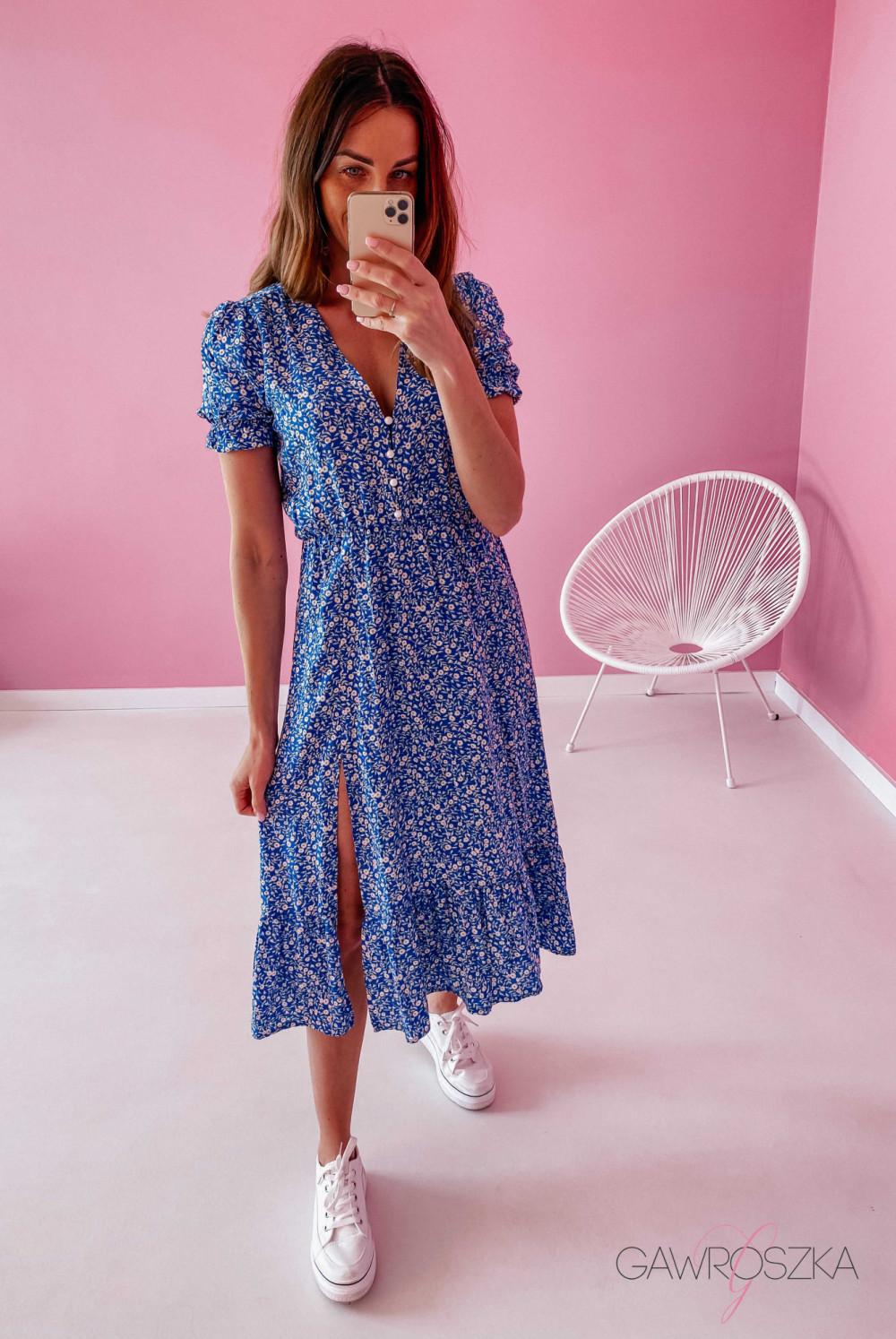 Sukienka Megi Midi Premium - niebieska w białe małe kwiatuszki 2
