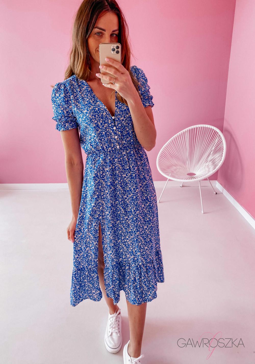 Sukienka Megi Midi Premium - niebieska w białe małe kwiatuszki 3