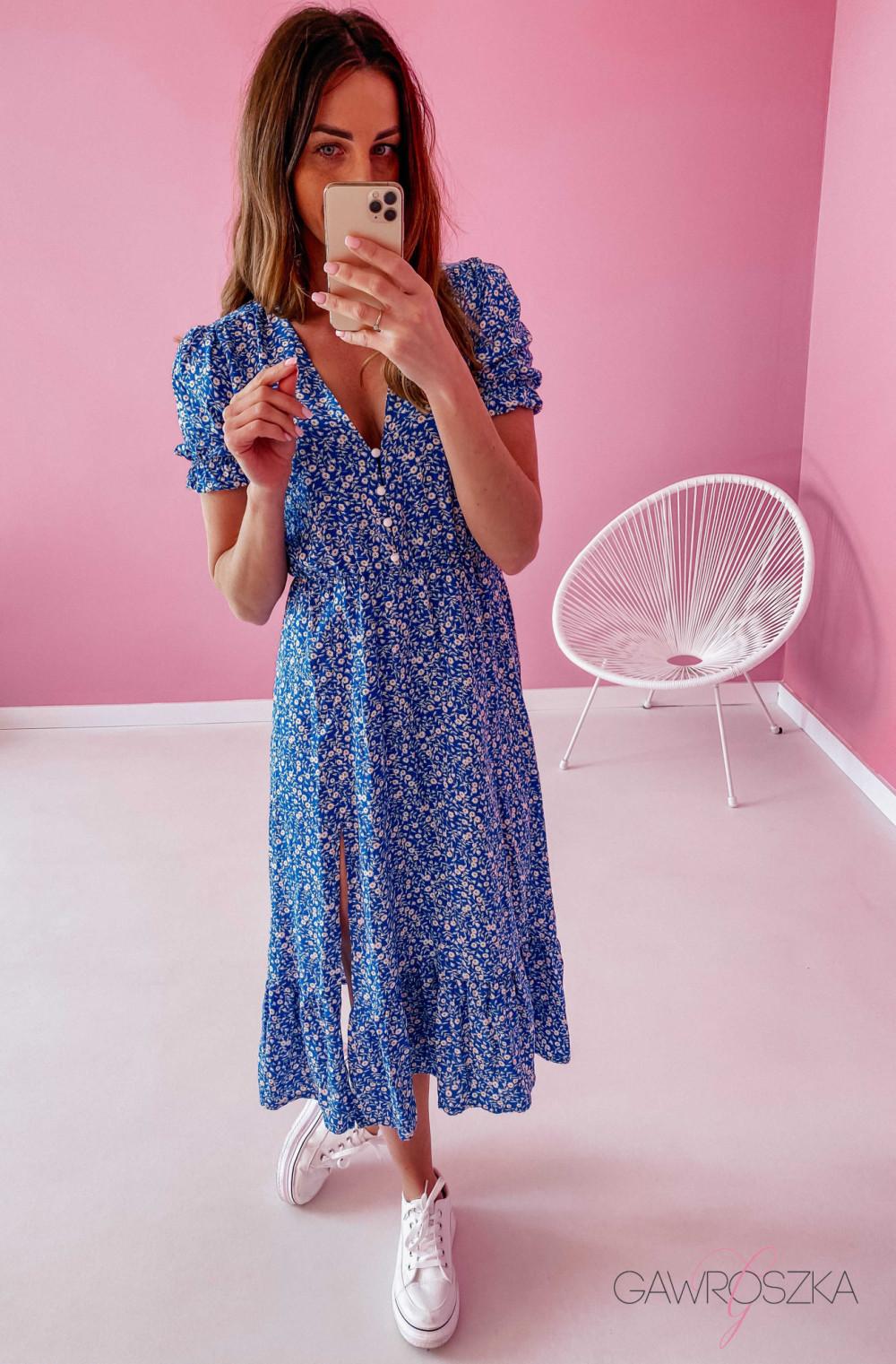 Sukienka Megi Midi Premium - niebieska w białe małe kwiatuszki 4