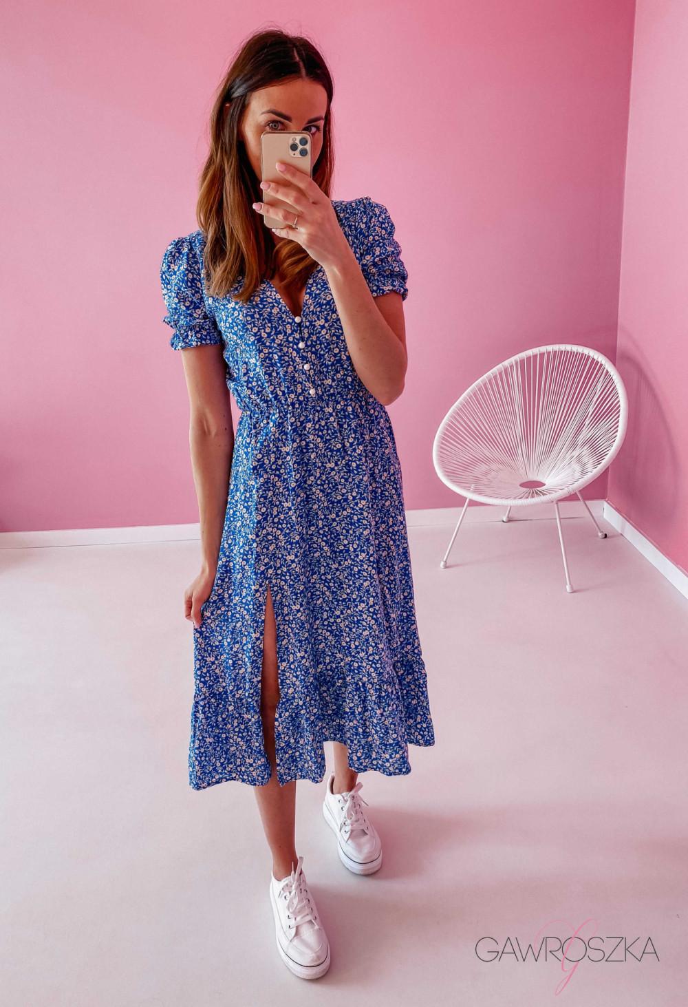 Sukienka Megi Midi Premium - niebieska w białe małe kwiatuszki 5