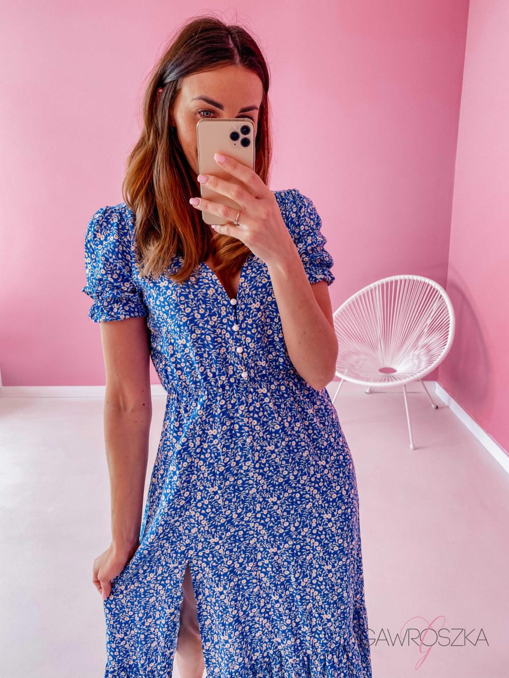 Sukienka Megi Midi Premium - niebieska w białe małe kwiatuszki 6
