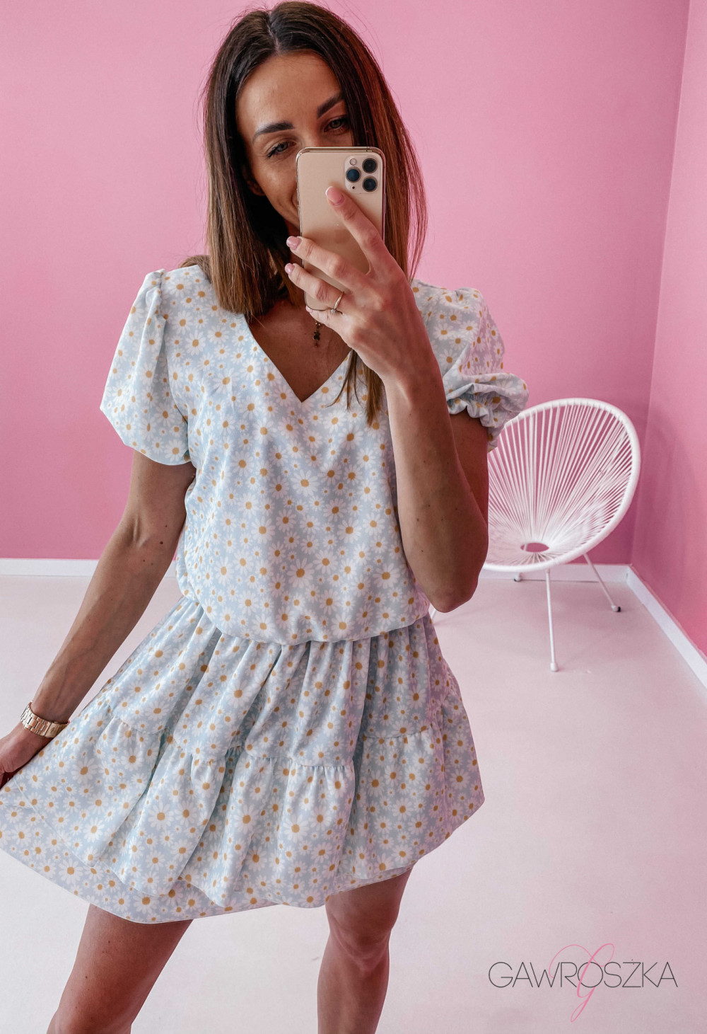Sukienka Lea - niebieska w stokrotki 1