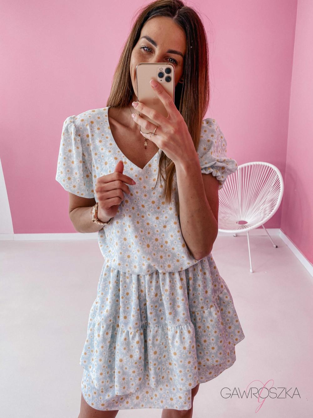 Sukienka Lea - niebieska w stokrotki 4