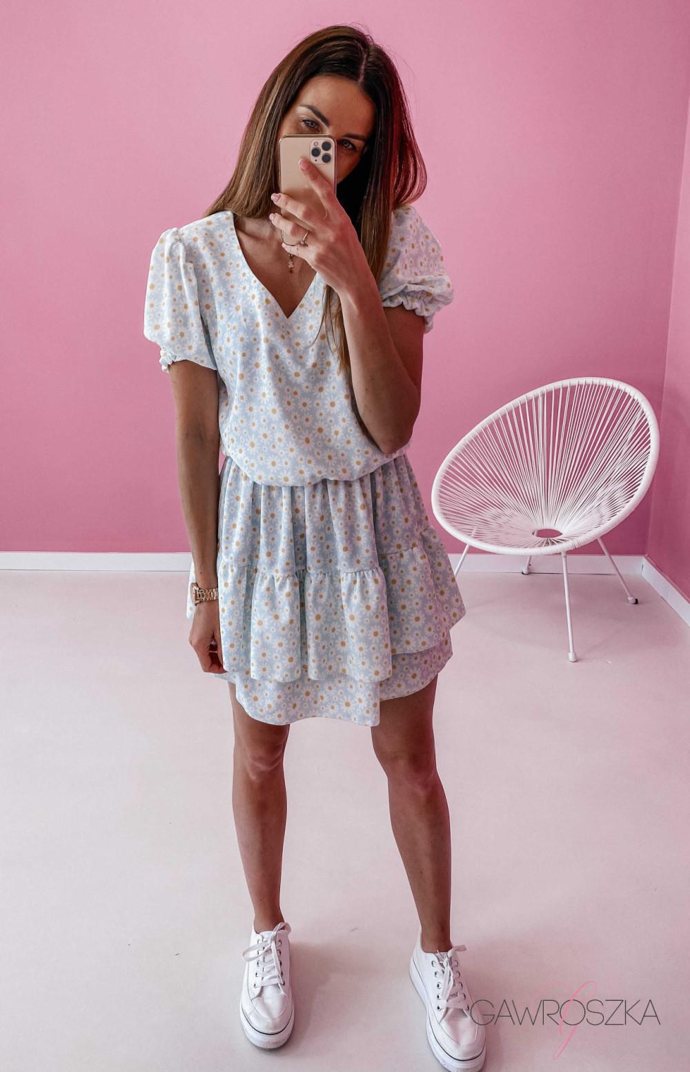 Sukienka Lea - niebieska w stokrotki 5