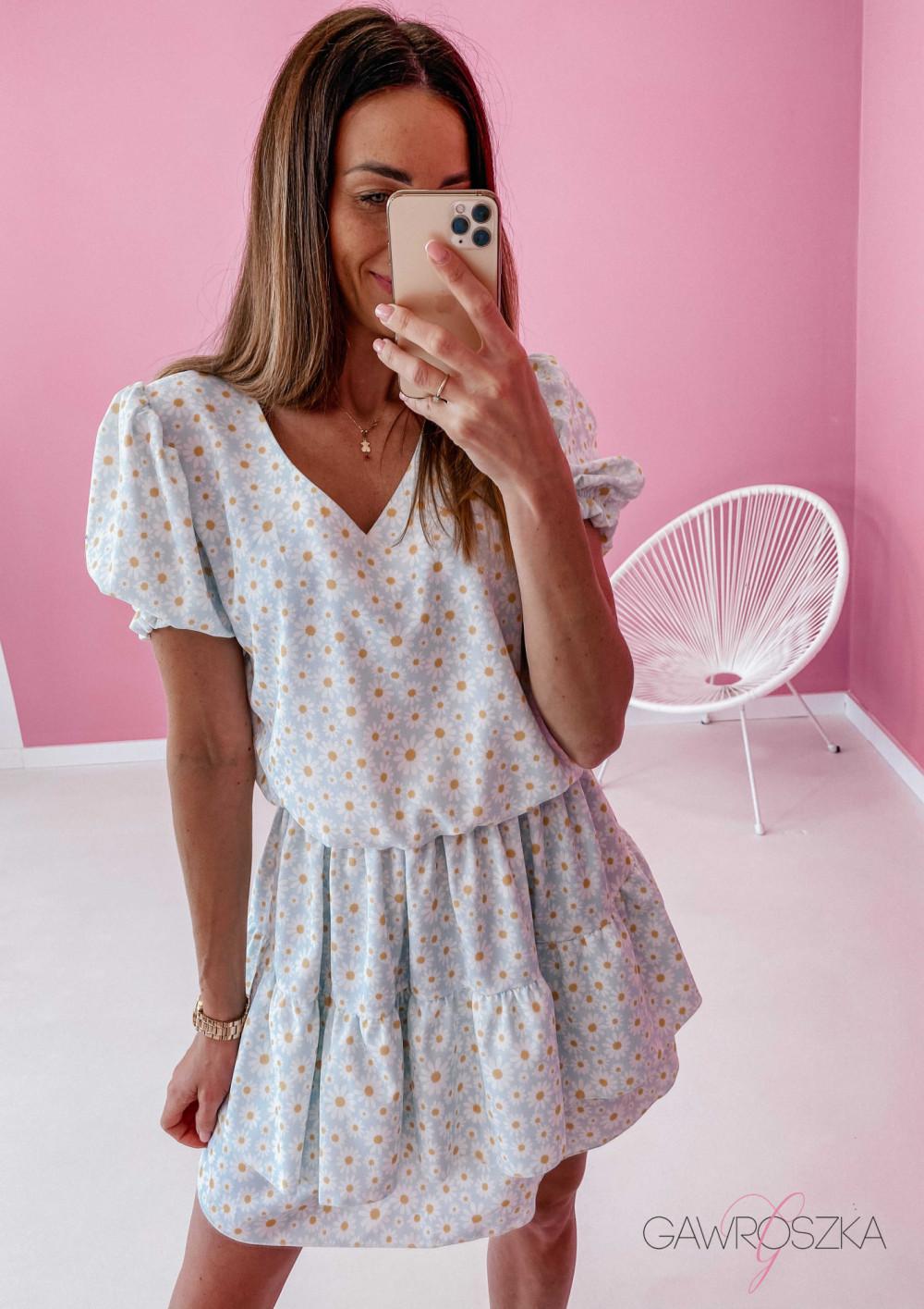 Sukienka Lea - niebieska w stokrotki 6